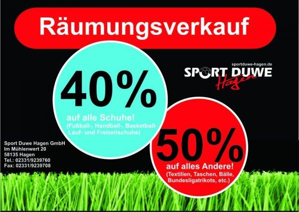 [LOKAL] Hagen - Sport Duwe Räumungsverkauf - 50 % auf alles (außer Schuhe, hier 40%)