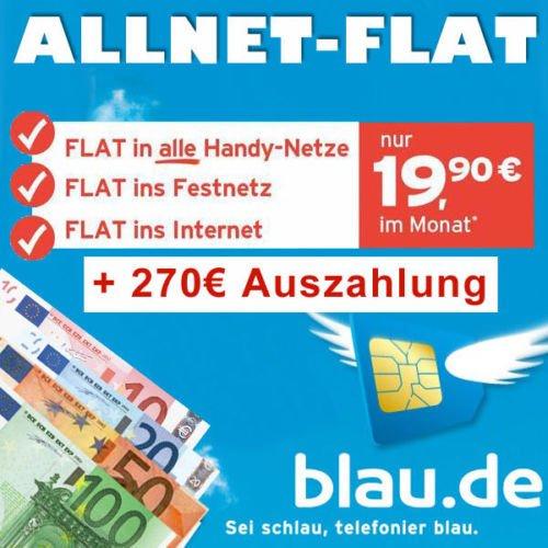 blau.de Allnet-Flat + Internetflat (500MB) für effektiv 8,65€/Monat (bei Portierung)