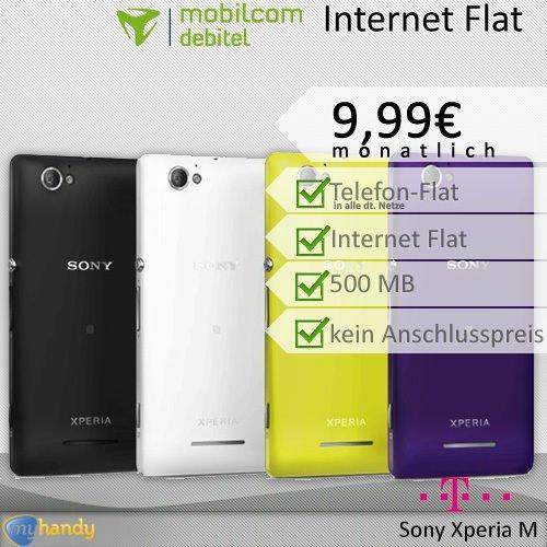 Sony Xperia M - mit Telekom Allnet Flat (MD) +500MB 9,99€ / 24 Monate