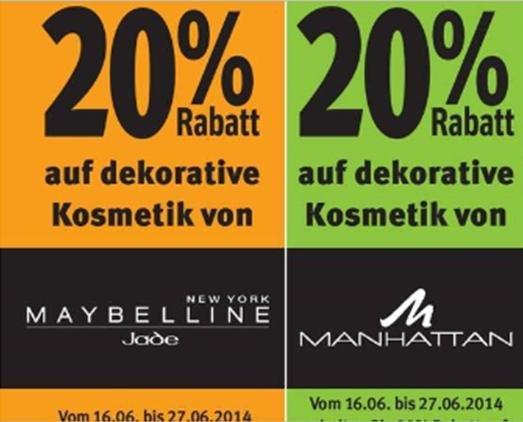 [Rossmann] wieder 20% Rabatt auf Jade Maybelline/ Manhattan Kosmetik