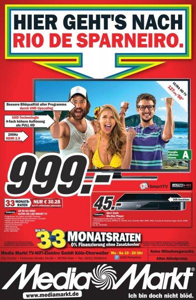 (lokal Köln Media Markt Chorweiler) Samsung 4K TV 50 HU 6900 999€