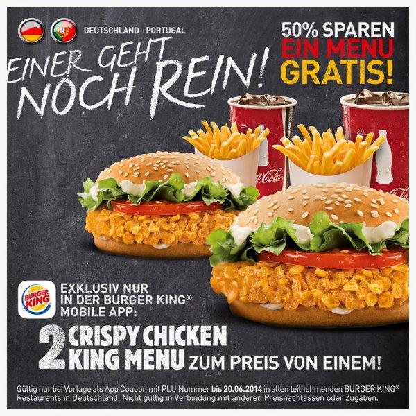 2 Crispy Chicken KING Menu zum Preis von einem @ Burgerking