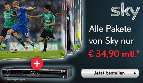SKY KOMPLETT ABO + PREMIUM HD (HD FEEDS) + SKY GO NUR 34,90€