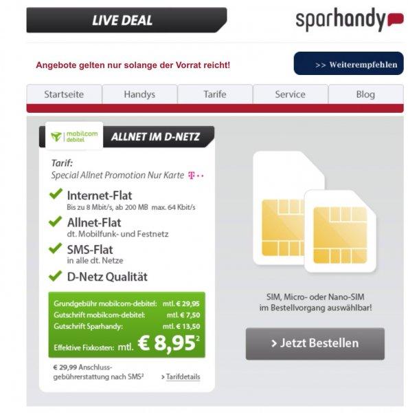 Sparhandy Telekom Allnet+Internet+SMS Flat für effektiv 8,95€ mtl