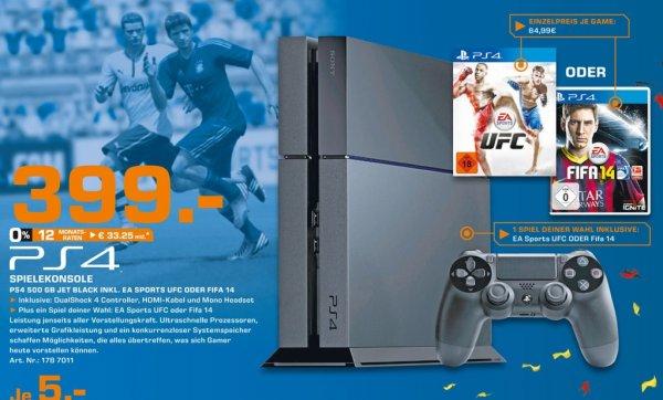 Playstation 4 inkl Fifa 14 oder UFC PS4 für 399€ Lokal [Saturn Hennef,(Sankt Augustin,Siegburg,Troisdorf) Eröffnungsangebot]