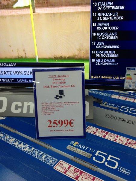 (Lokal Saturn Moers) Samsung Curved TV 55 H 8090 inkl. Bose Cinemate GS 2599€ + 50€ Gutschein