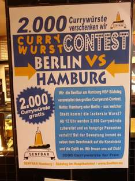 [Lokal: Hamburg] [Offline] 2.000 Gratis Currywürste am Samstag bei der Senfbar im Hamburger Hbf auf dem Südsteg