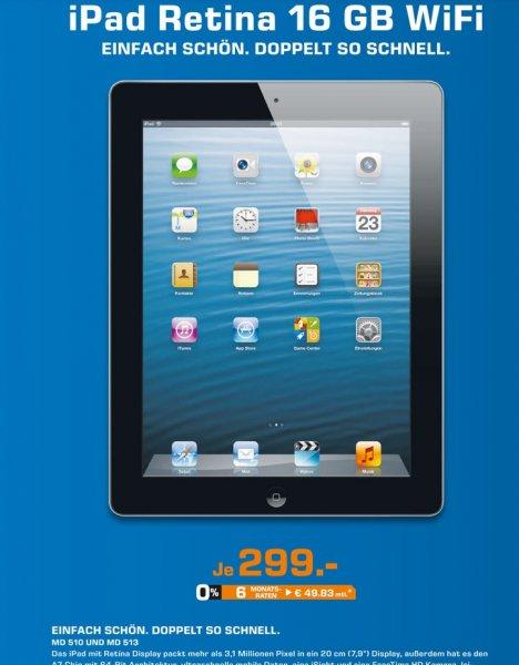 Apple iPad 4 16GB WiFi für 299€ Lokal Saturn Köln