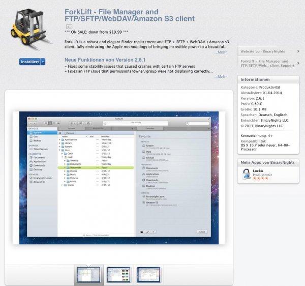 Forklift - Filemanage für MAC  (heute) für 0.89€ statt $19,99 im Mac Store