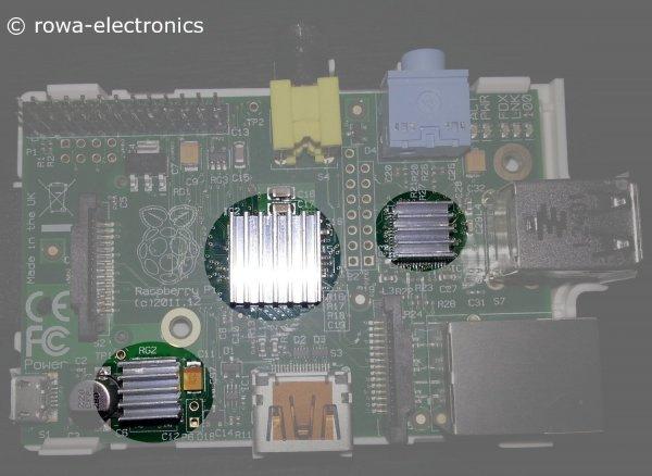 Kühlkörper für Raspberry Pi (3er Set passive Kühler)