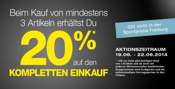 Kaufe 3 und bekomme 20% bei Sportarena (19.06.14 - 22.06.14)