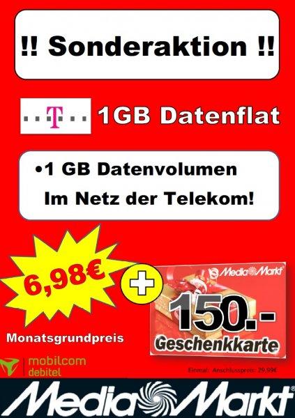 MediaMarkt Hamburg Wandsbek / 1GB Telekom Datenflat für 6,98 + 150€ Gutschein = Effektiv 1,98€ mtl