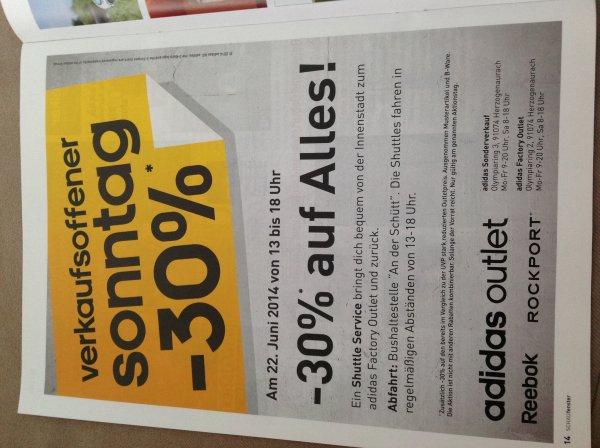 [Lokal 91074 Herzogenaurach] adidas Factory Outlet - Sonntag, 22.06.2014 - 13.00 bis 18.00 Uhr - 30% RABATT AUF ALLES