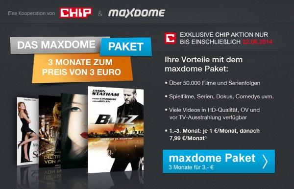 Maxdome - 3 Monate für 3€; Mindestlaufzeit 3 Monate