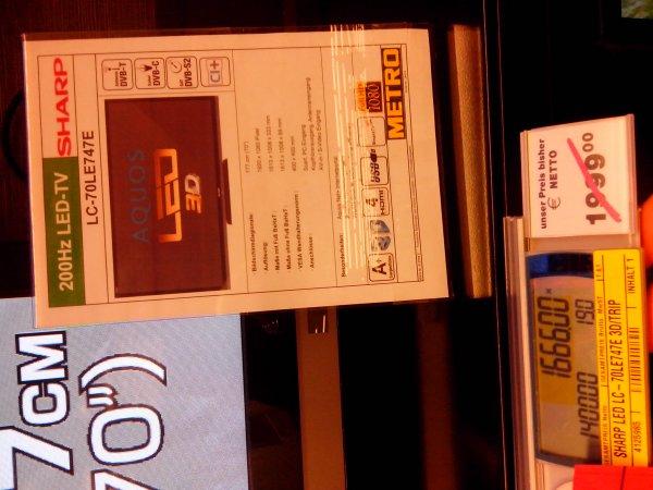 SHARP TV  177cm lc-70le747e 1666€