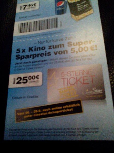 5 Sterne ticket (5 Tickets 2D Vorstellung) für cinestar @ 25€