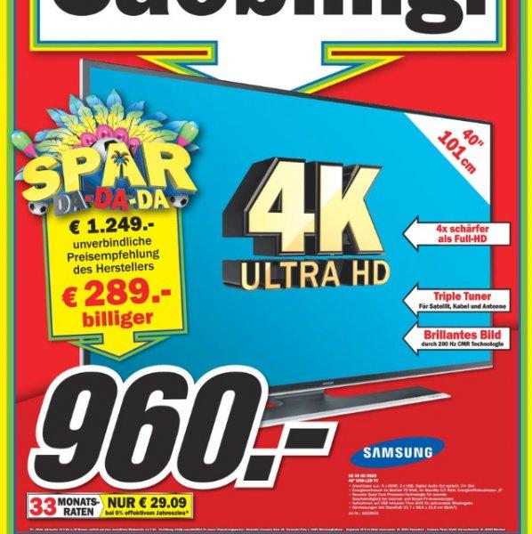 Samsung 40HU6900 4k smart TV für 960€ im MEDIAMARKT MÜLHEIM