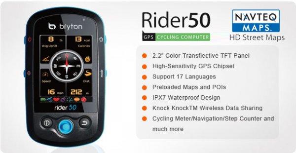 Bryton Rider 50 T GPS Fahrradcomputer + Pulsmesser und Trittfrequenzsensor - schwarz