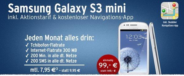 Wieder verfügbar Samsung Galaxy S3 mini NFC mit Newsletter anmeldung für 89€ {Tchibo o2 Simlock}