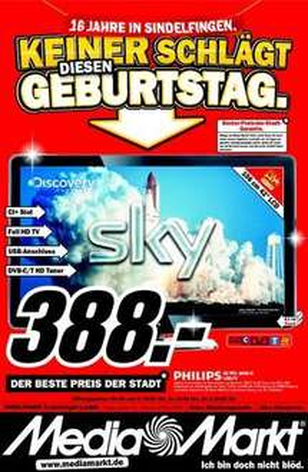 16 Jahre MediaMarkt SIndelfingen: Philips 42PFL3606H Full HD LCD-TV für 388€