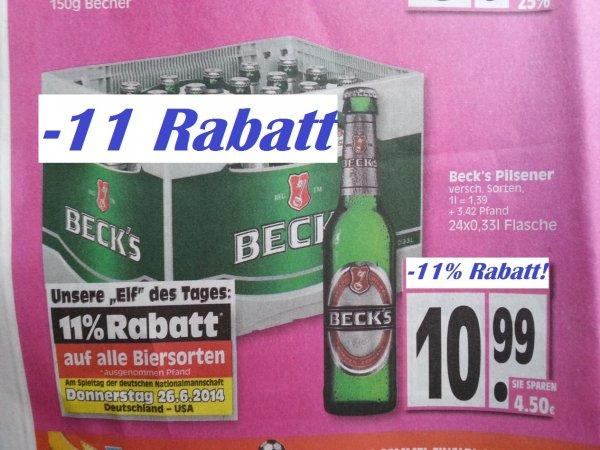 [EDEKA Minden-Hannover] NUR am Do 26.6 24er Kiste Becks/Jever für 9,78€