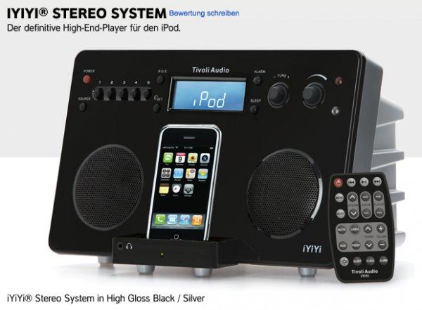 Tivoli iYiYi (Apple iPod DockingStation) im OutletShop für 99€ inkls. Versand. (Idealo 199€) / schwarz oder weiß
