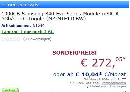 wieder verfügbar !  Samsung 840 Evo SSD mSATA 1TB 276€ @mindfactory