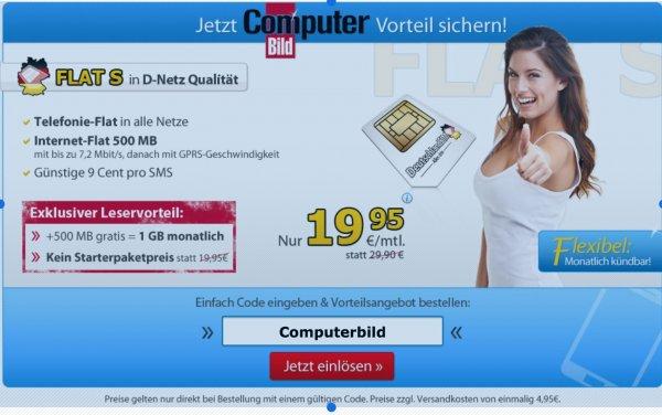 DeutschlandSIM Computerbild Aktion Allnet flat 19,90€