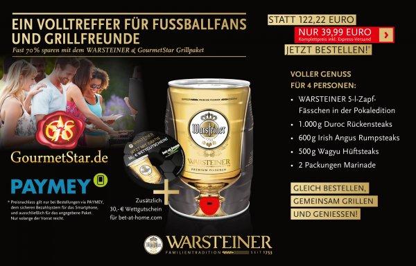 500g Wagyu Hüftsteak + 600g Irish Angus Rumpsteak + 1000g Duroc Rücken Steak + 5L WARSTEINER Fass + 2 Packungen Marinade und kostenfreie Lieferung für 39,99 Euro