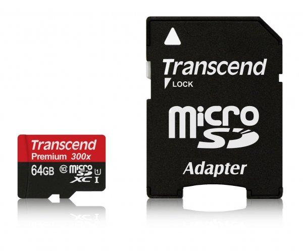 Transcend Premium Class 10 microSDXC 64GB Speicherkarte mit SD-Adapter (UHS-I, 45Mbps Lesegeschwindigkeit) @Amazon  27€