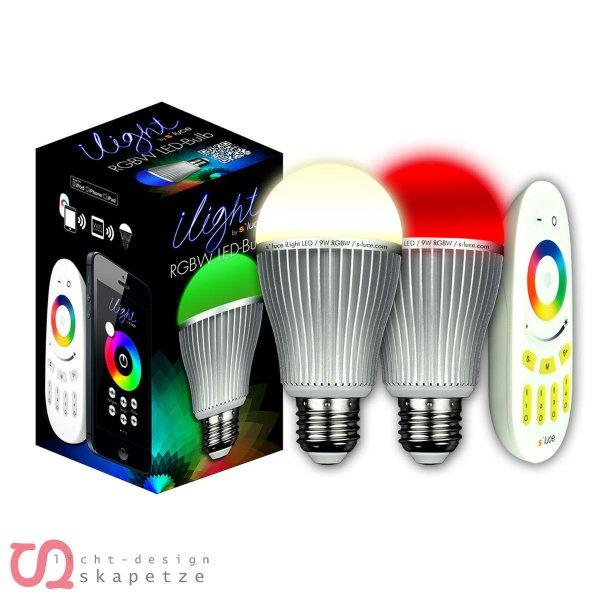 ebay WOW 2x s`luce iLight RGB/W LED Leuchtmittel 9W + 1x Fernsteuerung für 29,99€