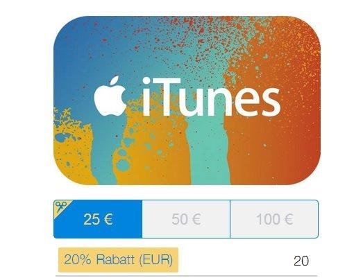[Nur HEUTE] PayPal Gifts - 20% auf iTunes Karten