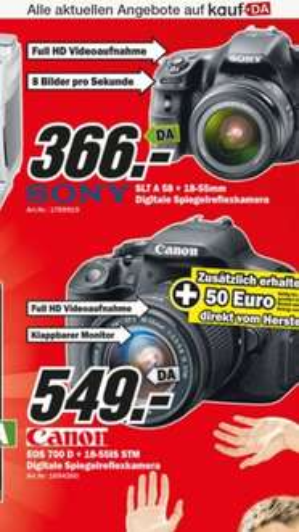 Sony SLT A 58 + 18-55 mm für 366,- im Media Markt Köln Kalk