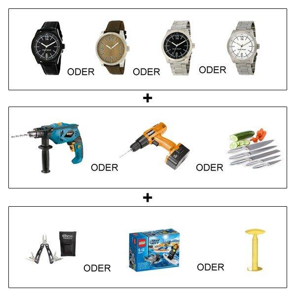 Crazy Bundle: Bruno Banani Armbanduhr & Schlagbohrmaschine o. Akku Bohrschrauber o. Messerset für 39€ @ ebay.de (VH)