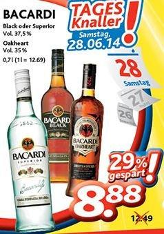 Bacardi Black, Superoir oder Oakheart 8,88 € [[dursty offline, NRW weit]]
