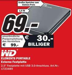 [Lokal] WD Elements Portable 1,5TB für 69€