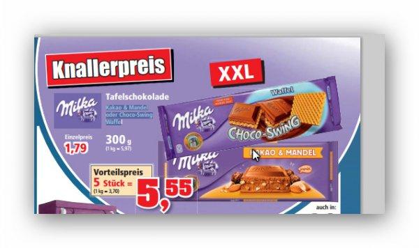 Milka XXL Kakao & Mandel oder Choco-Swing Waffel 1,5 Kilo (5 x 300g) bei Thomas Philipps (offline)