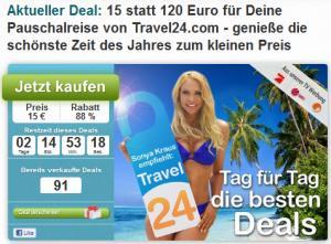 120 Euro Travel24.com Gutschein für nur 15 Euro bei Dailydeal durch kleinen Trick