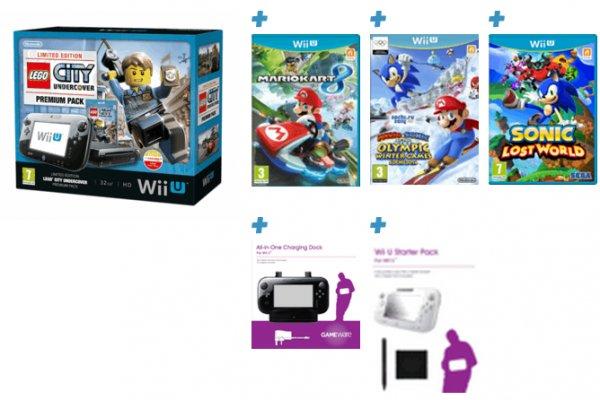 Wii U Premium mit 5 Spielen (u.A. Mario Kart 8, Lego City: Undercover) und Zubehör [Game.co.uk]