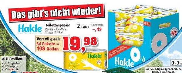 [Thomas Philipps] Hakle Scheißhauspapier 108 Rollen - Jahresvorrat