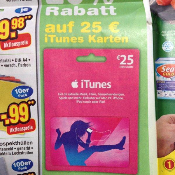 [lokal, ggfs. bundesweit] 25 Euro iTunes Karte für 20 @netto ohne Hund
