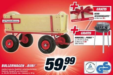 """[Toom] Bollerwagen """"Bubi"""" + Rundgrill """"Primo"""" + 10 € Rewe Geschenkkarte"""