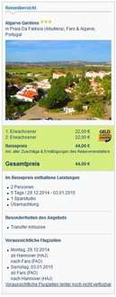 [Preisfehler?] 5 Tage Algarve über Silvester mit Flug, Übernachtung und Transfer für 22€ p.P.