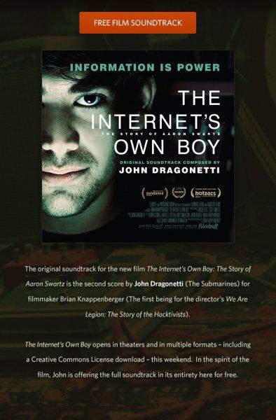 Gratis/Kostenlos: John Dragonetti - The Internet's Own Boy (Original Soundtrack) @ noisetrade.com