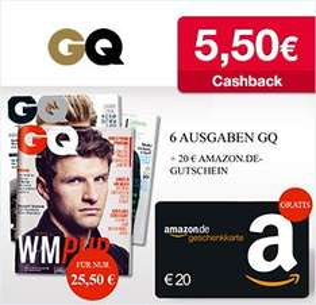 GQ- Das Männermagazin 6 Ausgaben für 25,50€ mit 20€ Amazon Gutschein + 5,50€ Cashback von Qipu