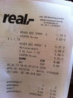 4x Nivea Deo bei Real [Bundesweit Offline] kostenlos