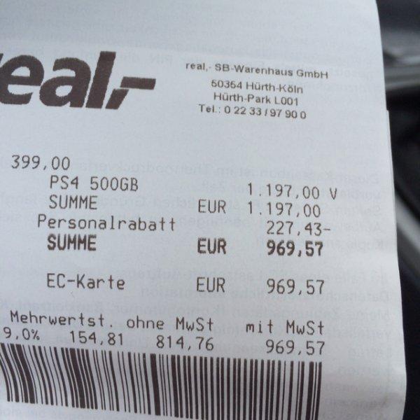 [Real] Playstation 4 500GB (ohne Spiele)