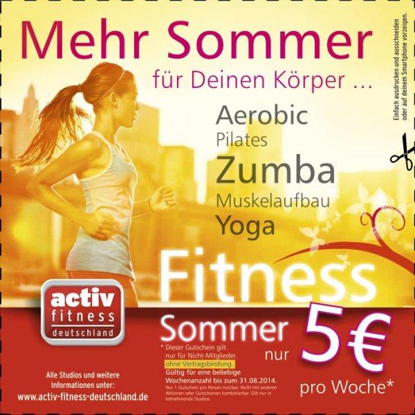 5 € für eine Woche Training ohne Vertragsbindung bei Activ Fitness Deutschland