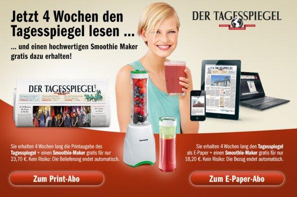 4-Wochen Tagesspiegel Abo mit SEVERIN Smoothiemaker ab 18,20 € - Endet automatisch!