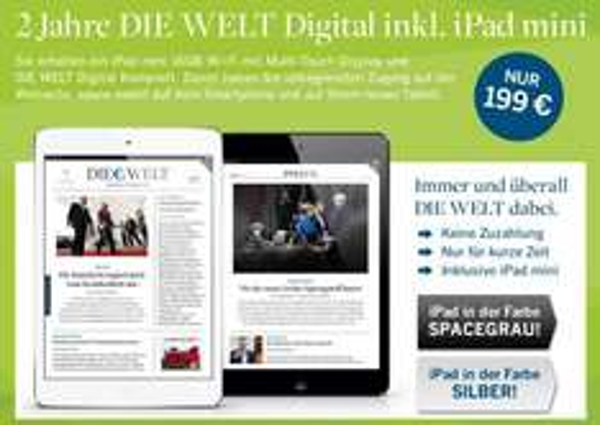 iPad mini 16GB WiFi + 2 Jahre - Die Welt - Digital für 199€